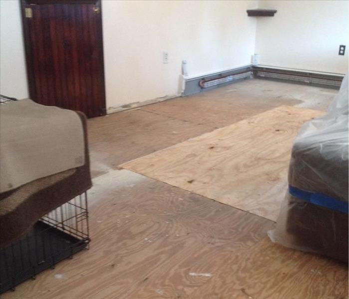 living room with wood subfloor exposed