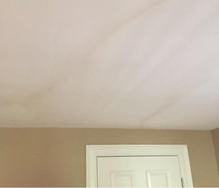 white drywall ceiling with streaks of brownish mold